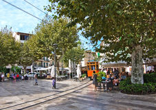Soller tram Mallorca. SOLLER, MALLORCA, SPAIN - OCTOBER 2, 2016: Soller tram between port and main village on central plaza on a sunny day on October 2, 2016 in Royalty Free Stock Photography