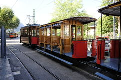Soller tram. The old fashioned wooden Soller tram Royalty Free Stock Photos
