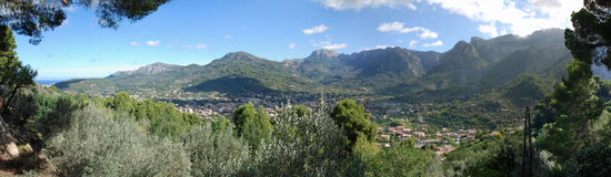 Soller Valley. Panoramic view of Soller Valley in Majorca (Spain Royalty Free Stock Photography