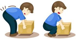 Sollevamento corretto e sbagliato di posizione illustrazione di stock