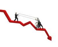 Sollevamento del simbolo dei soldi sullo scendere la freccia Immagini Stock