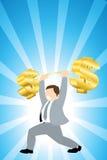 Sollevamento di peso dei soldi Immagine Stock