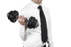 Sollevamento pesi dell'uomo d'affari Fotografie Stock Libere da Diritti