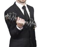 Sollevamento pesi dell'uomo d'affari Fotografie Stock