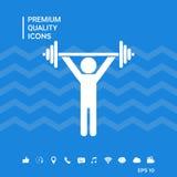 Sollevamento pesi, icona di addestramento della testa di legno Immagini Stock Libere da Diritti