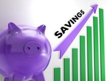 Sollevare il diagramma di risparmio mostra la crescita monetaria Fotografie Stock
