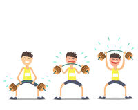 Sollevatore pesi dell'atleta che fa gli esercizi difficili Vektor Fotografie Stock