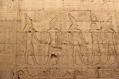 Sollievi sulle pareti del tempio di Edfu Egypt Fotografia Stock