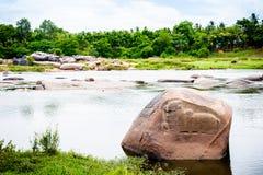 Sollievo di Nandi sul fiume Immagine Stock