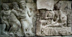 Sollievo di storia di Ramayana sul tempio di Prambana Fotografia Stock Libera da Diritti