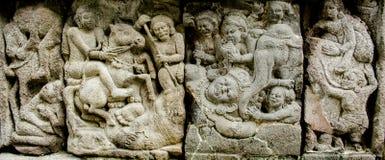 Sollievo di storia di Ramayana sul tempio di Prambana Immagine Stock