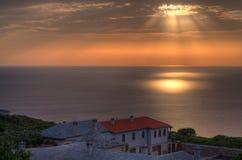 Solljus på det Aegean havet, Mount Athos, Grekland Arkivbilder