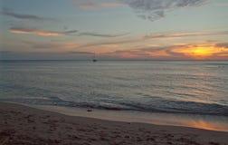 Solljus på stranden Arkivfoton