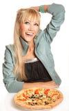 Sollte ich Pizza essen? Stockfotografie