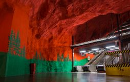 Solna Centrum I. A picture of the Solna Centrum subway station, in Stockholm stock images