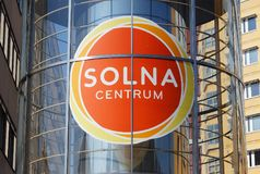 Solna centrum logo. Solna, Sweden - July 8, 2014: Close-up of the sign above the entrance to the Solna shopping mall royalty free stock photos