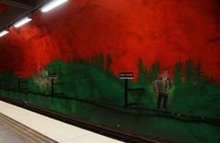 Solna centrum Station of the Subway in Stockholm. Sweden royalty free stock photography