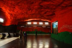 Solna centrum Station of the Subway in Stockholm. Sweden stock photography