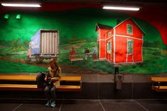 Solna centrum Station of the Subway in Stockholm. Sweden royalty free stock images