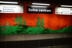 Solna centrum Station of the Subway in Stockholm. Sweden stock photo