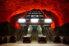 Solna Centrum in Stockholm. Interior metro station Solna Centrum in Stockholm stock photo