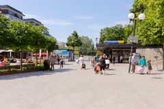 Solna square. Solna, Sweden - June 3, 2016: People at the square at Solna centrum near the underground station Solna Centrum royalty free stock image