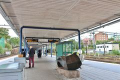 Solna station in Stockholm. Solna is a light rail station in Stockholm, situated in the district of Tapiola in Solna Municipality stock photography