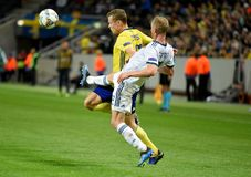 Russia national team defender Vladislav Ignatyev and Sweden national team midfielder Viktor Claesson. Solna, Sweden - November 20, 2018. Russia national team stock image