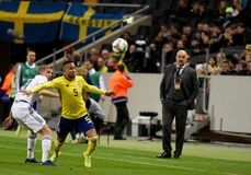 Russia national team midfielder Yury Gazinsky and Sweden national team left back Martin Olsson. Solna, Sweden - November 20, 2018. Russia national team stock photography