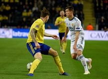 Russia national team striker Dmitry Poloz and Sweden national team player Victor Lindelof. Solna, Sweden - November 20, 2018. Russia national team striker Dmitry stock photos