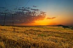 Solnedgång över ängar Arkivfoto