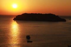 Solnedgång över ön, Crete, Grekland Royaltyfri Fotografi