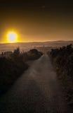 Solnedgång över Aberdeenshire Skottland Royaltyfri Foto