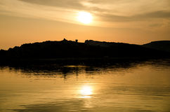Solnedgång över Adriatiska havet Royaltyfria Foton