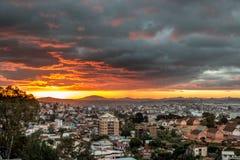 Solnedgång över Antananarivo Royaltyfria Bilder