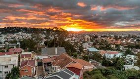 Solnedgång över Antananarivo Arkivfoton
