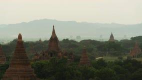 Solnedgång över Bagan pagodfält arkivfilmer