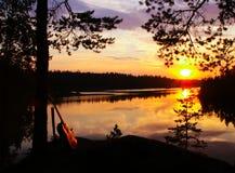 Solnedgång över Berezovskoye sjön Royaltyfri Fotografi