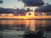 Solnedgång över Blacket Sea, Bulgarien Royaltyfri Bild