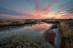 Solnedgång över Burgas Royaltyfri Foto