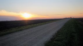 Solnedgång över cropland i Illinois Royaltyfria Bilder