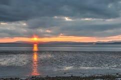Solnedgång över Cumbria royaltyfri bild