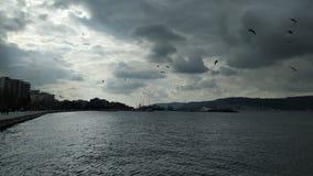 Solnedgång över Dardanellesna royaltyfria bilder