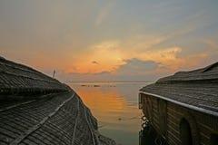 Solnedgång över de Keralan avkrokarna, Indien Royaltyfria Bilder