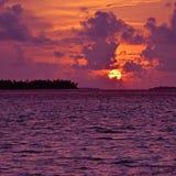 Solnedgång över de Maldiverna öarna Arkivfoto