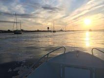 Solnedgång över den Cape May hamnen Royaltyfri Bild