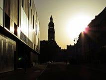 Solnedgång över den huvudsakliga fyrkanten av den Prostejov staden Royaltyfria Bilder