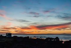 Solnedgång över den södra ön av Nya Zeeland Arkivfoton