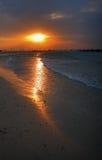 Solnedgång över den Sharjah stranden Arkivbild