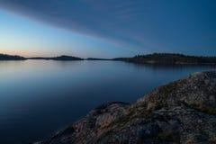 Solnedgång över den Stockholm skärgården Royaltyfria Bilder